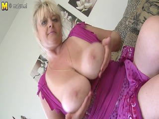 bug breasted older doxy mama getting soaked