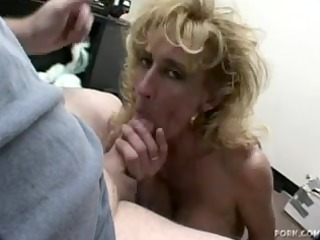 older blond sage gives a oral-service