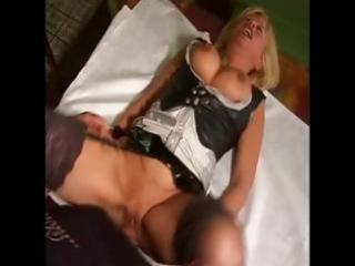 breasty mature blond maid nibbles on his boner