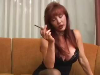 breasty mature vanessa has a smoke in advance of