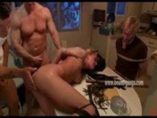 golden-haired wife thrown on table and fucked
