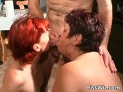 slutty older strumpets piss and receives juicy